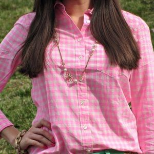 J Crew Pink Gingham Button Down